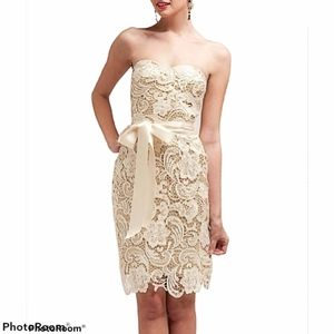 ADRIANNA PAPELL Strapless Lace Sheath Dress